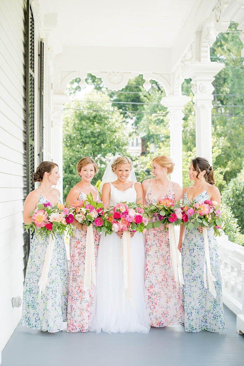 MERRIMON WYNNE HOUSE WEDDING | Floral bridesmaid dresses, Wedding ...