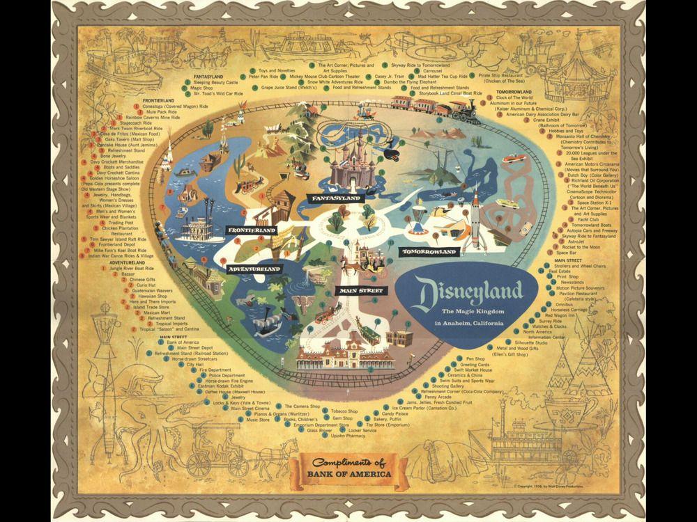 ORIGINAL 1955-56 DISNEYLAND MAP READY TO FRAME COLLAGE DISNEY BANK ...