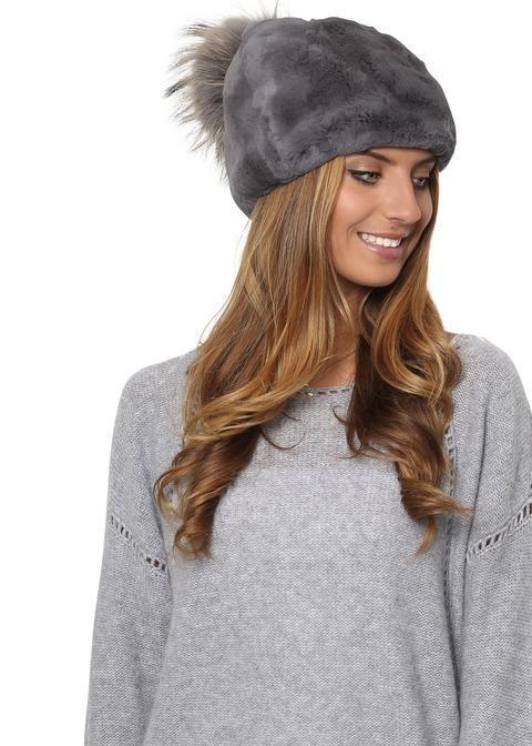 61b81a90817 Grey Rex Rabbit Short Beanie With Raccoon Fur Pom Pom - Jessimara ...