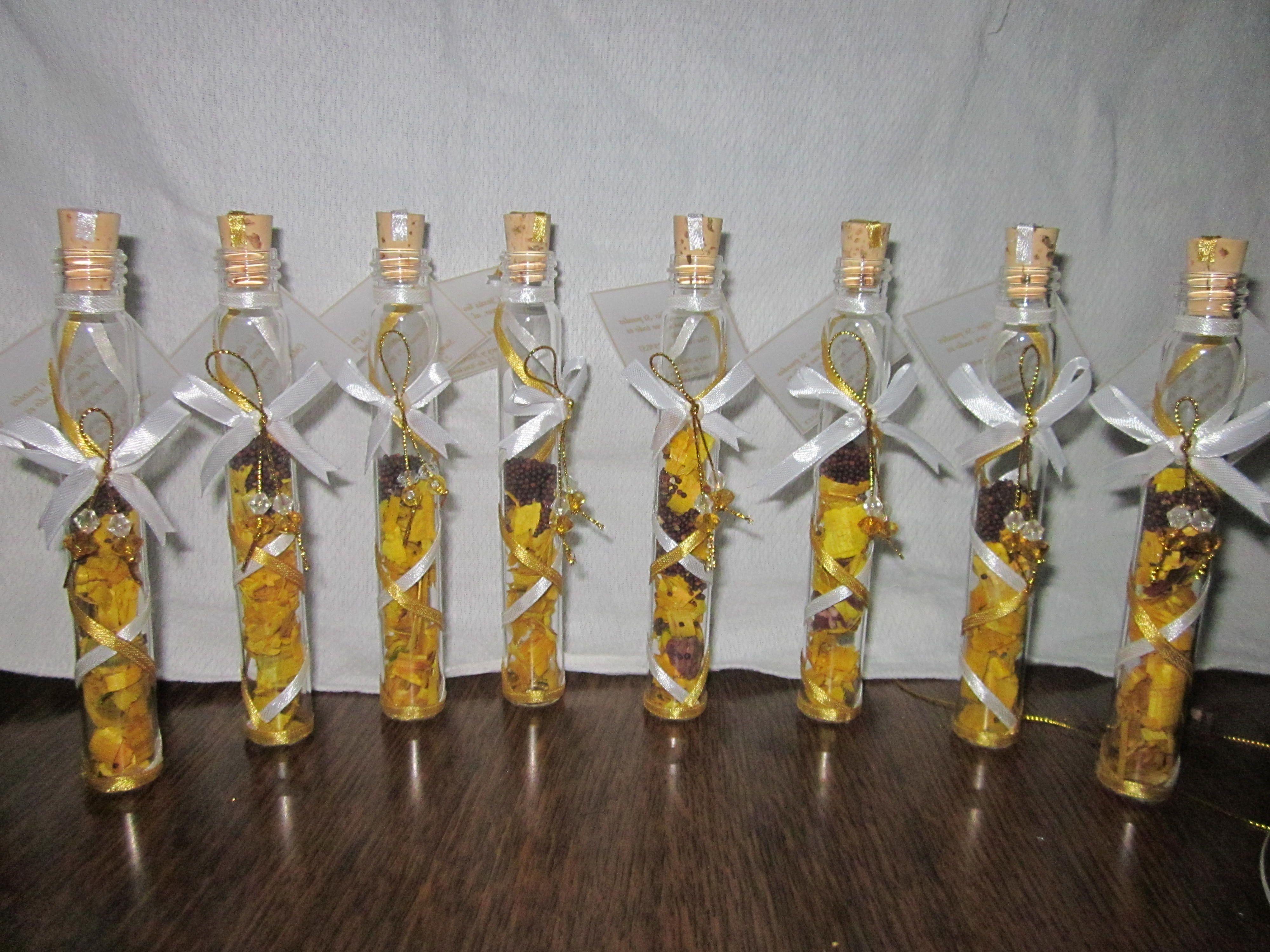 Recuerdos para boda en cilindros de cristal o tubos de ensayo