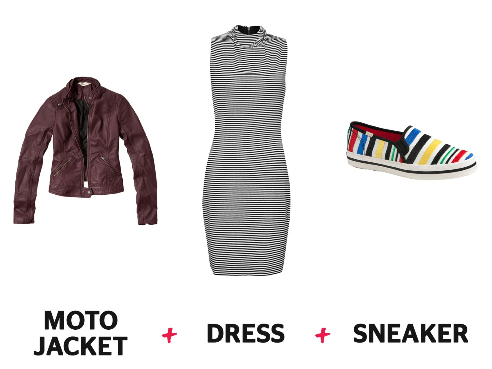 Fashion Formula: Dress + Moto Jacket + Sneaker  - Redbook.com