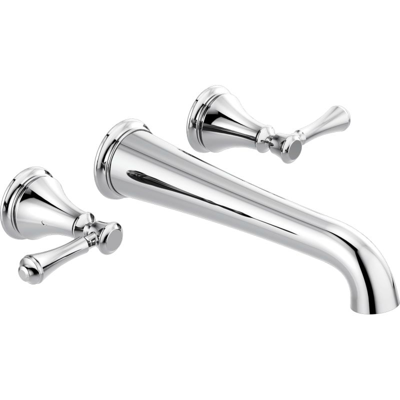 Delta T5797 Wl Cassidy Double Handle Wall Mounted Tub Filler Chrome Faucet Tub Filler Double Handle Tub Filler Delta Cassidy Delta Faucets Delta wall mount tub filler