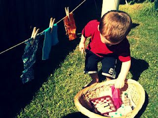have little ones hang their own clothesline  practice using clothespins, use scraps of fabric or towels you need to clean