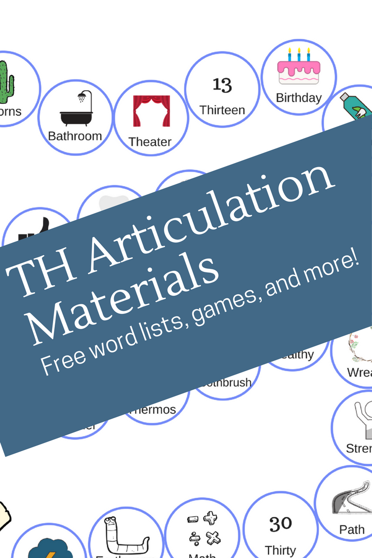 Speech Therapy TH Materials - Word Lists, Games, Worksheets, Cues ...
