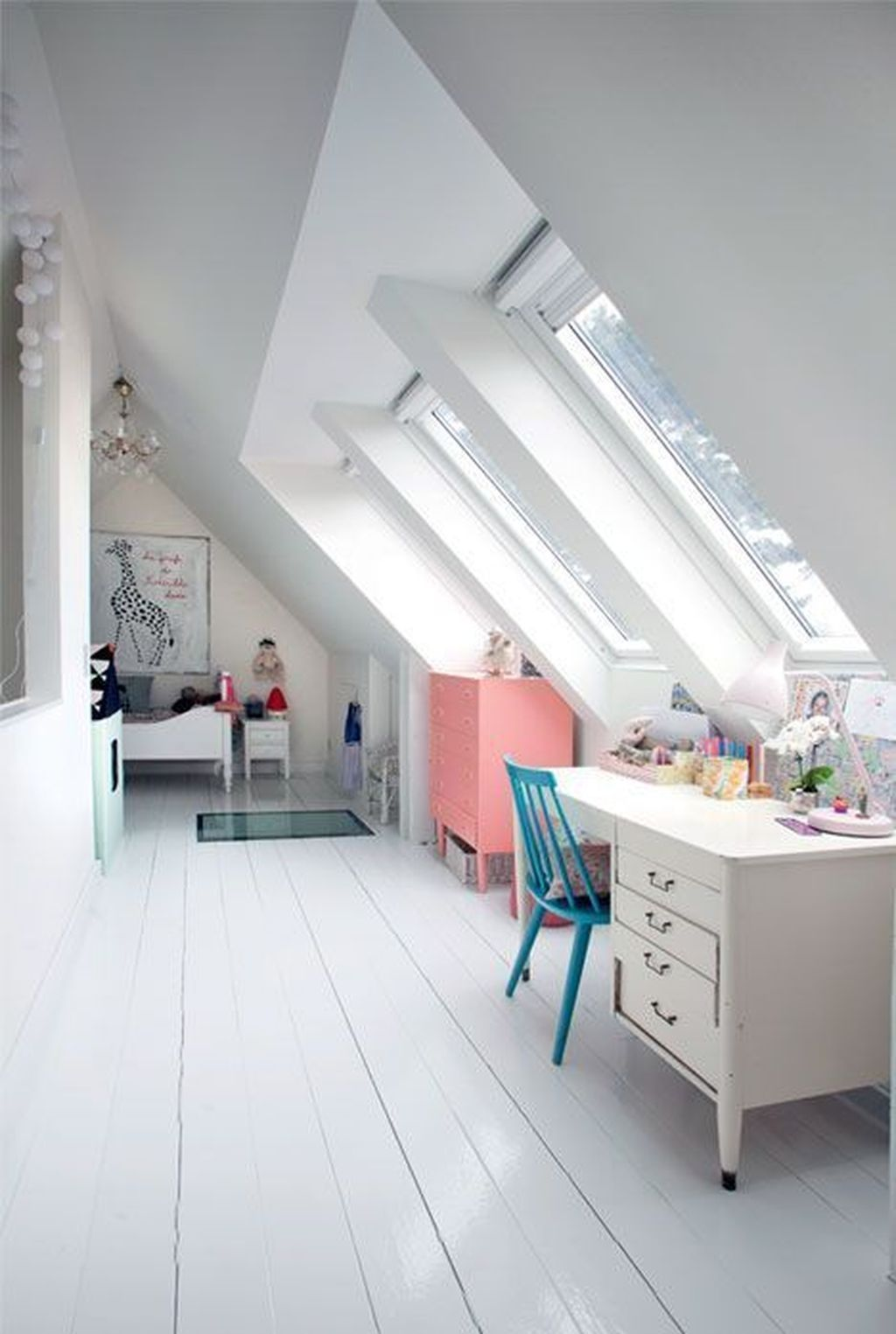 White Window Wall Desk Colourful Chair And Drawers Attic Living Rooms Kid Room Decor Loft Room