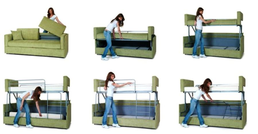 Coupe Sofa Turns Into Comfy Bunk Bed In Just 14 Seconds Bunk Beds Diy Bunk Bed Portable Bunk Beds