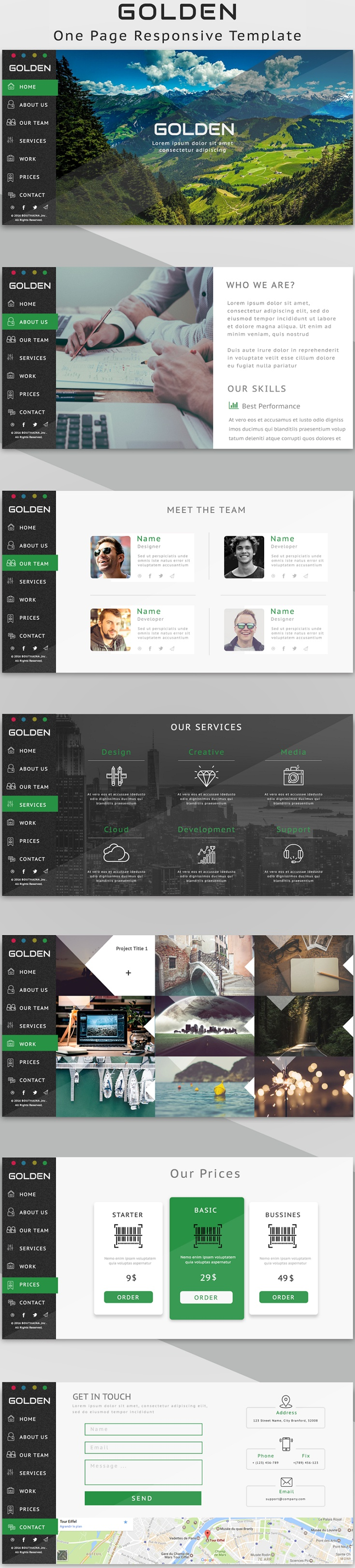 Golden  One Page Responsive Template  First Page Resume And As
