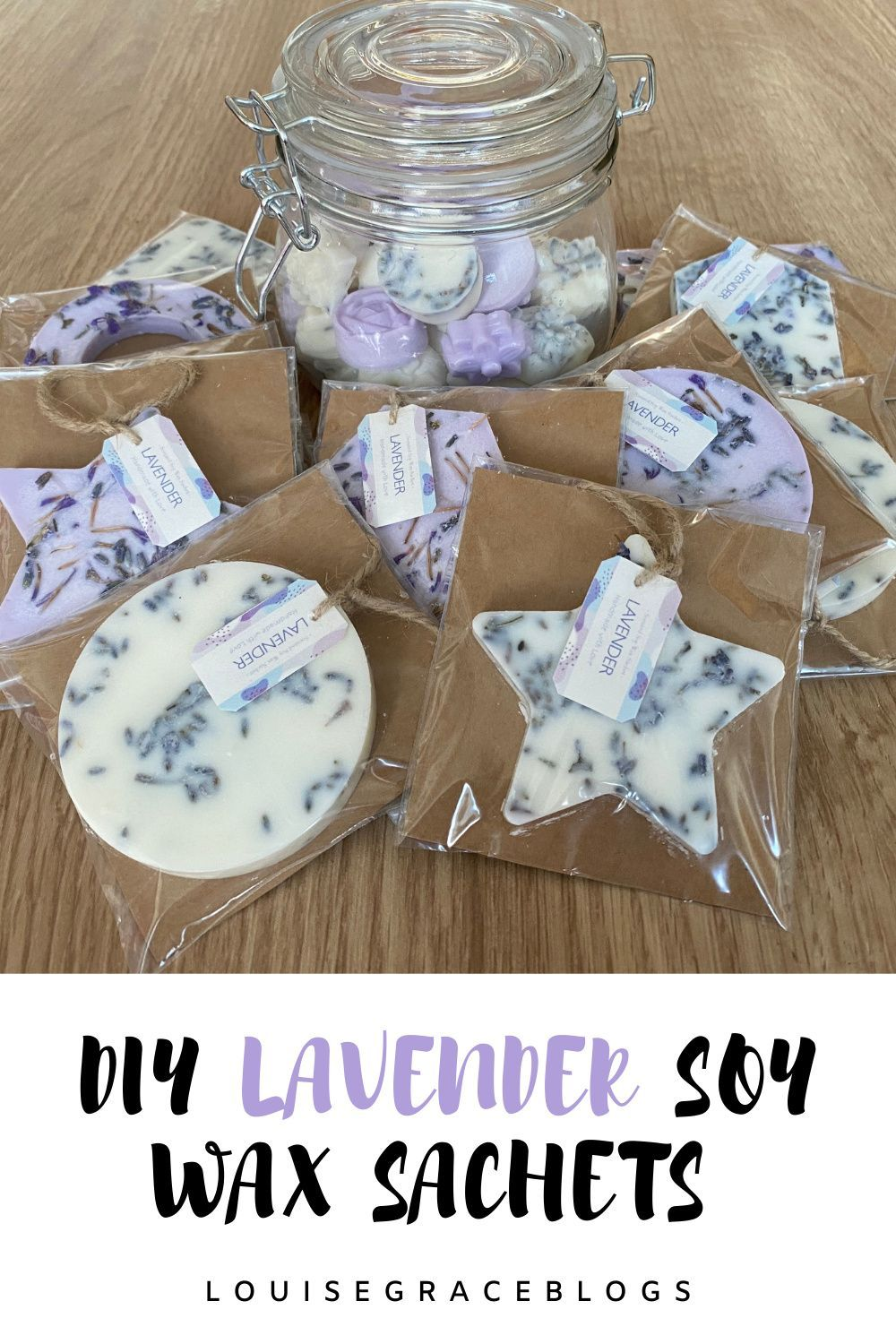 DIY Lavender soy wax sachets for the home and gift