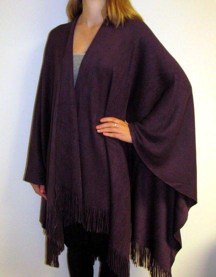Reversible Large Autumn Winter Wool Warm Shawl Poncho Throw Cape Pashmina Wrap