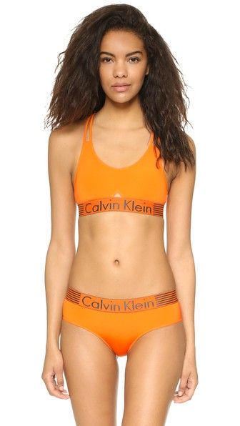 08808b084e0140 Calvin Klein Underwear Iron Strength Micro Bralette - Vibrant Orange ...