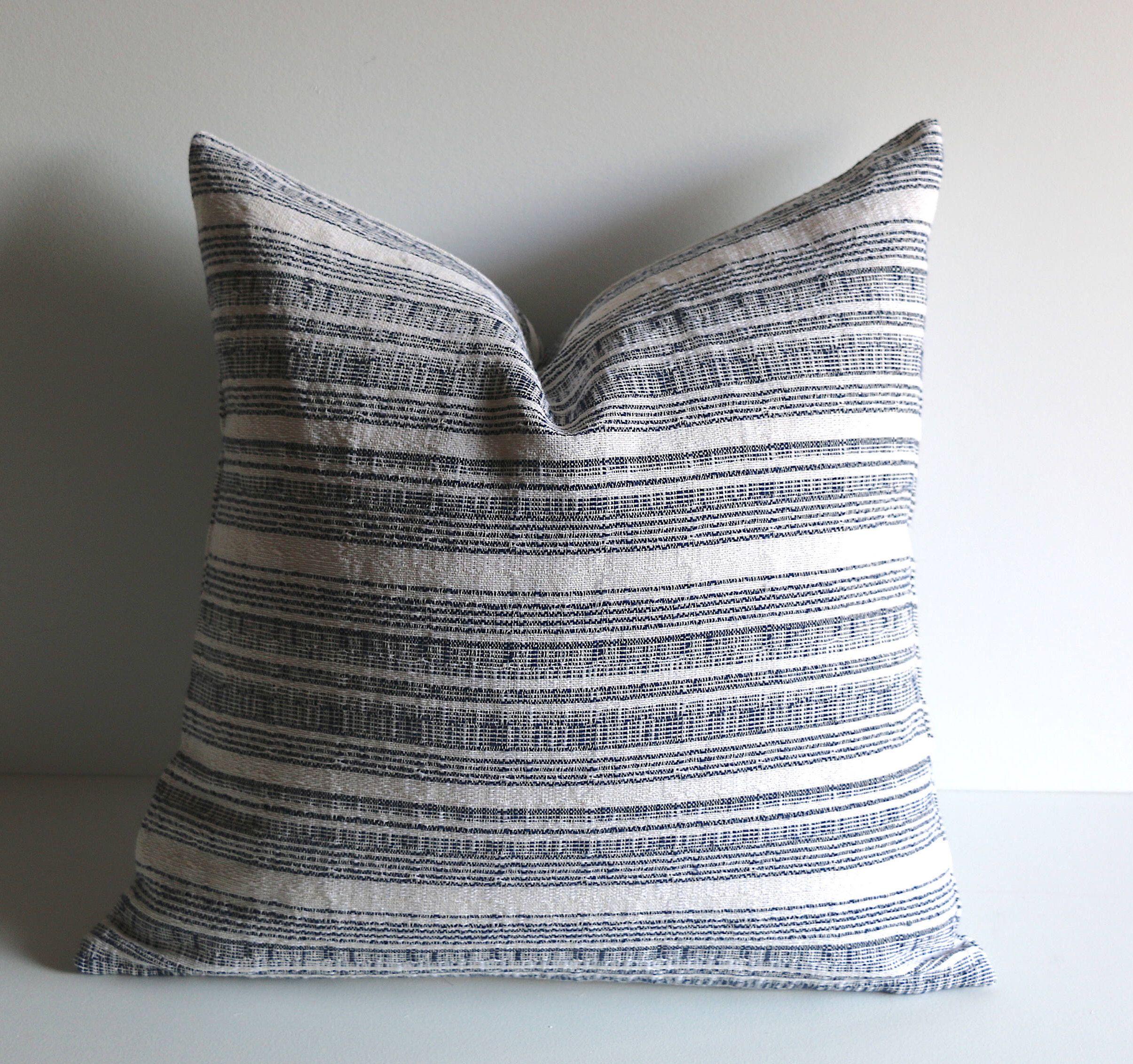 pillows etsy blue striped pillow
