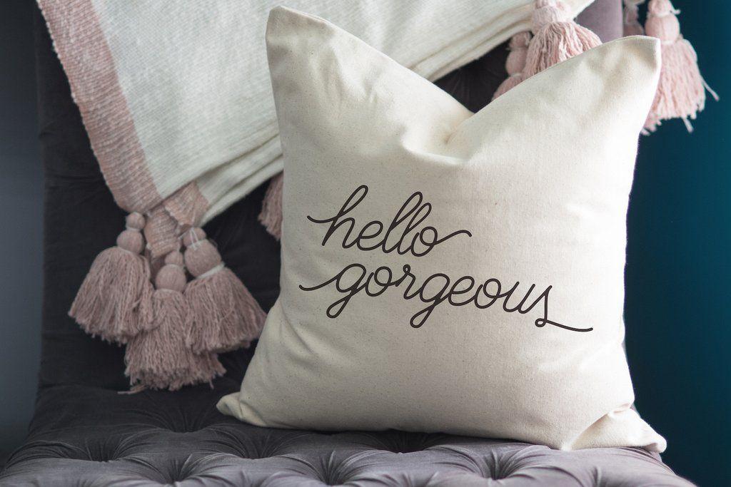 Hello Gorgeous Throw Pillow | Throw