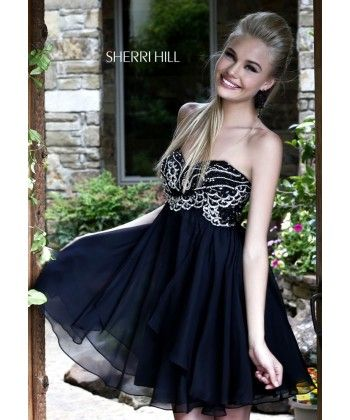 2014 Beaded Black Cocktail Dress by Sherri Hill 3880