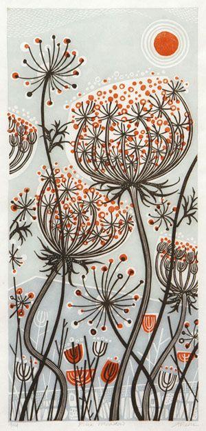 dandelion drawing - black and orange