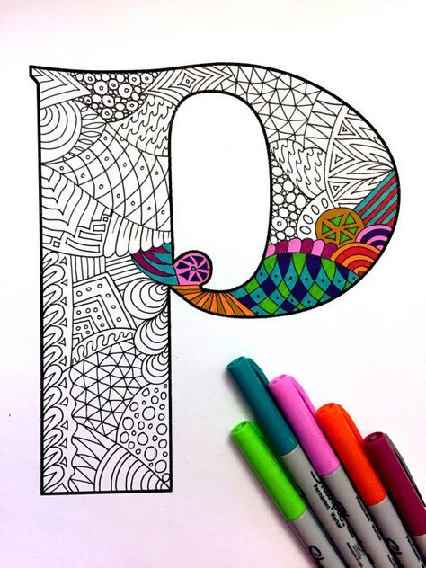 Letter P Zentangle Inspired by