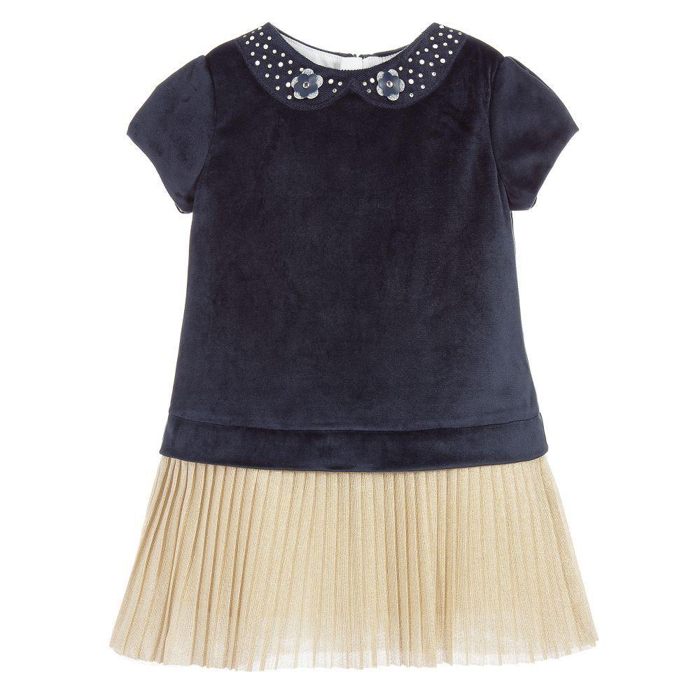 364de5e0699e72 Blue   Gold Velvet Dress