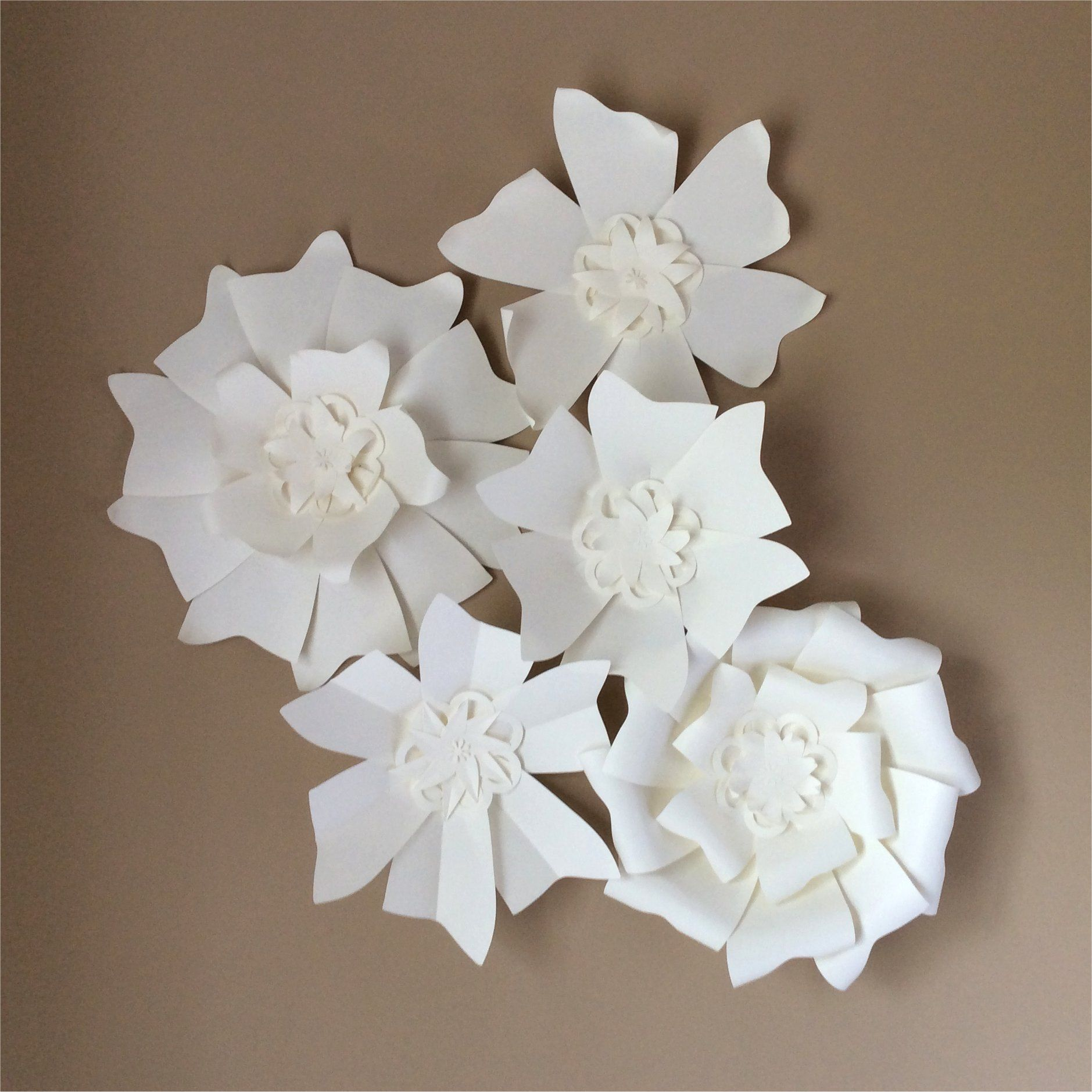 Pinwheel Big Paper Flower 5 Set Of Kits With 30cm Base Flower