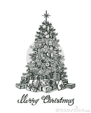 Hand drawn Christmas tree and gifts | Xmas | Pinterest | Christmas ...