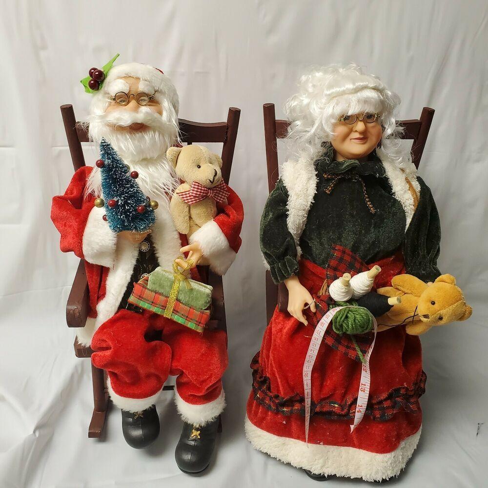 Santa Mrs Claus Pair Rocking Chair 17 Sitting Doll Figurines Christmas Decor Sitting Doll Santa Claus Doll Christmas Figurines