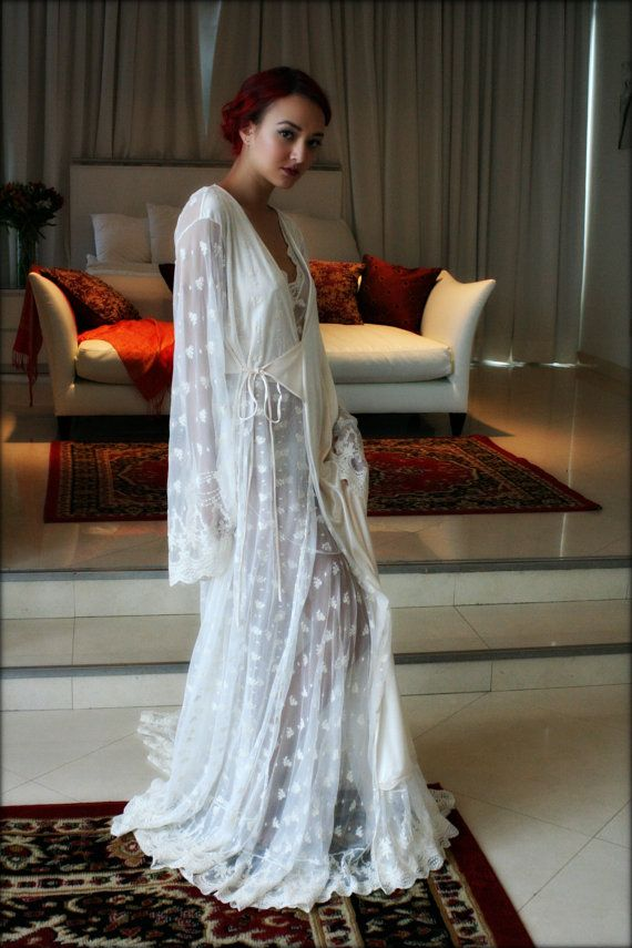 Embroidered Lace Bridal Robe French Lace Wedding by SarafinaDreams ...