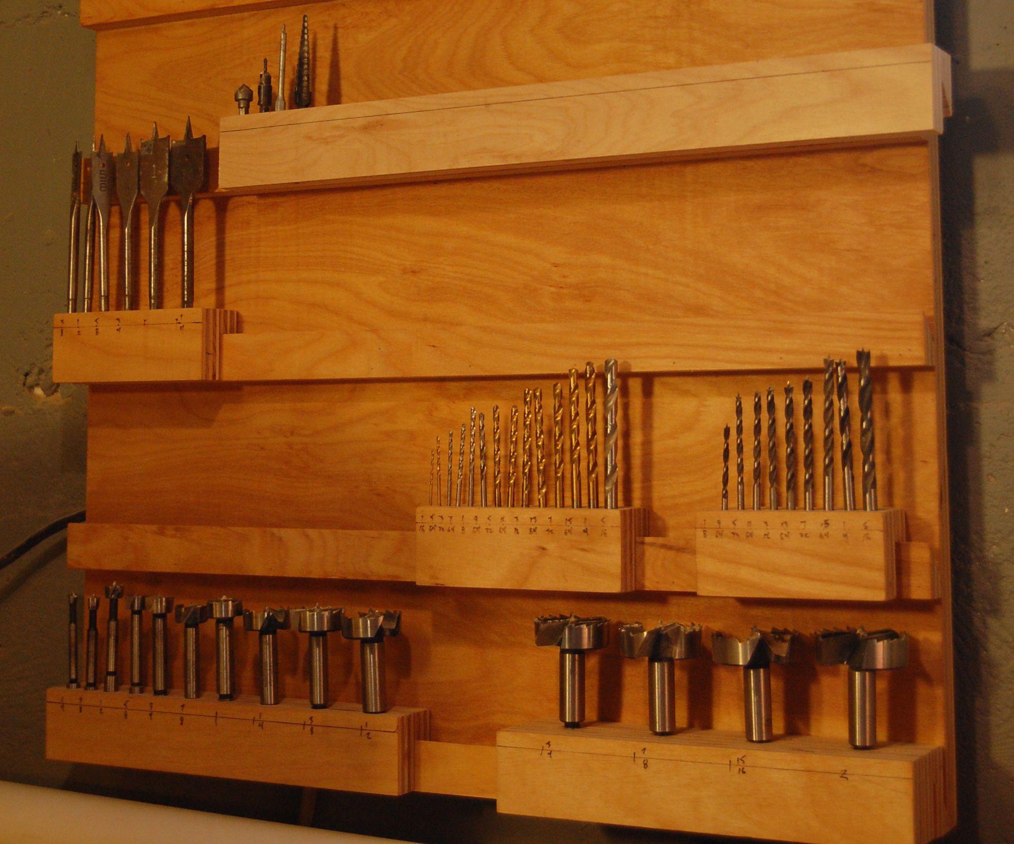 The Drill Bit Rack Garage Storage Wood Drill Bits