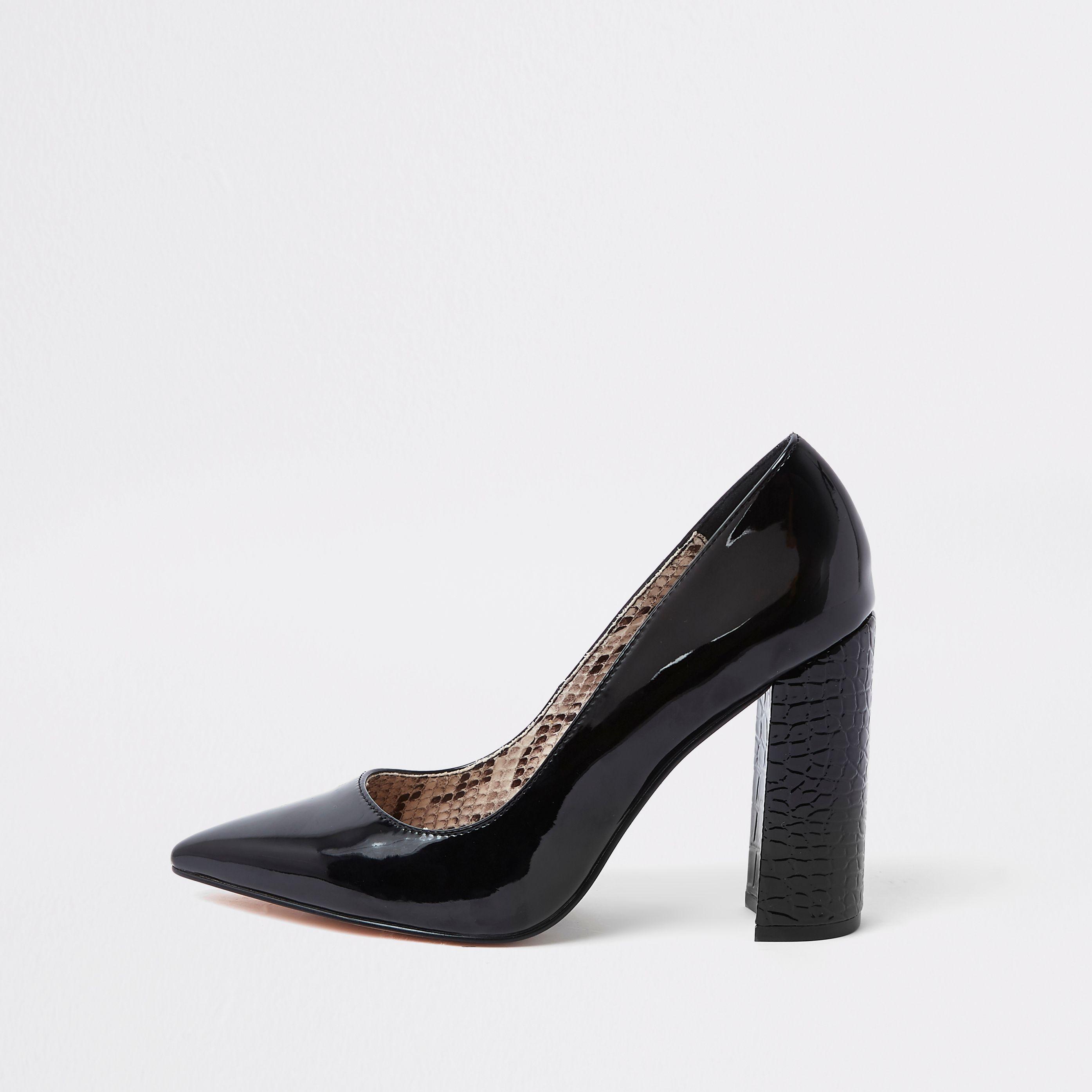 04b5bb12b49 Black wrap around block heel court shoes in 2019 | Products | Heels ...