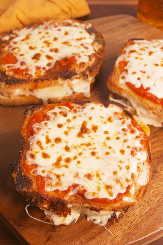 Chicken Parm Grilled Cheese is part of pizza - You've never seen a grilled cheese like this Chicken Parm Grilled Cheese from Delish com