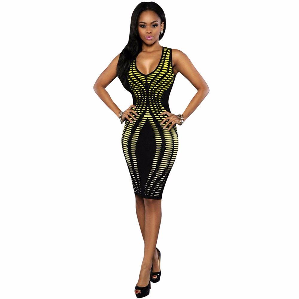 Black digital gradient printed bodycon party dress
