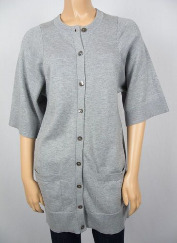 VINCE Gray Long Tunic Cardigan Sweater S Cotton Cashmere Blend ...