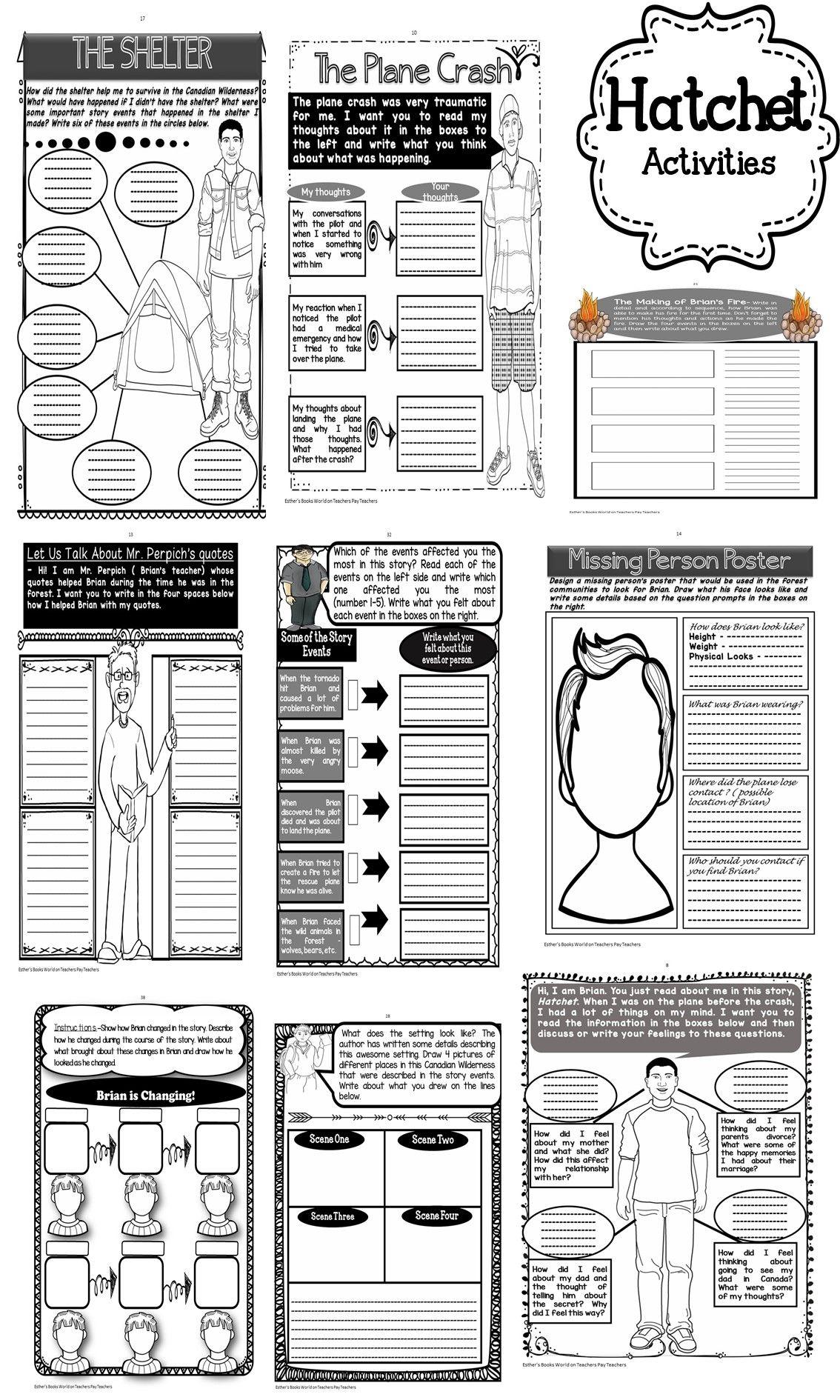 worksheet Hatchet Worksheets hatchet novel activities unit novels and language arts unit