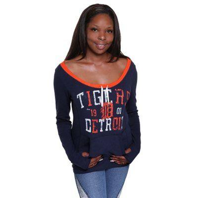 Detroit Tigers Women's Momentum Long Sleeve TShirt Navy
