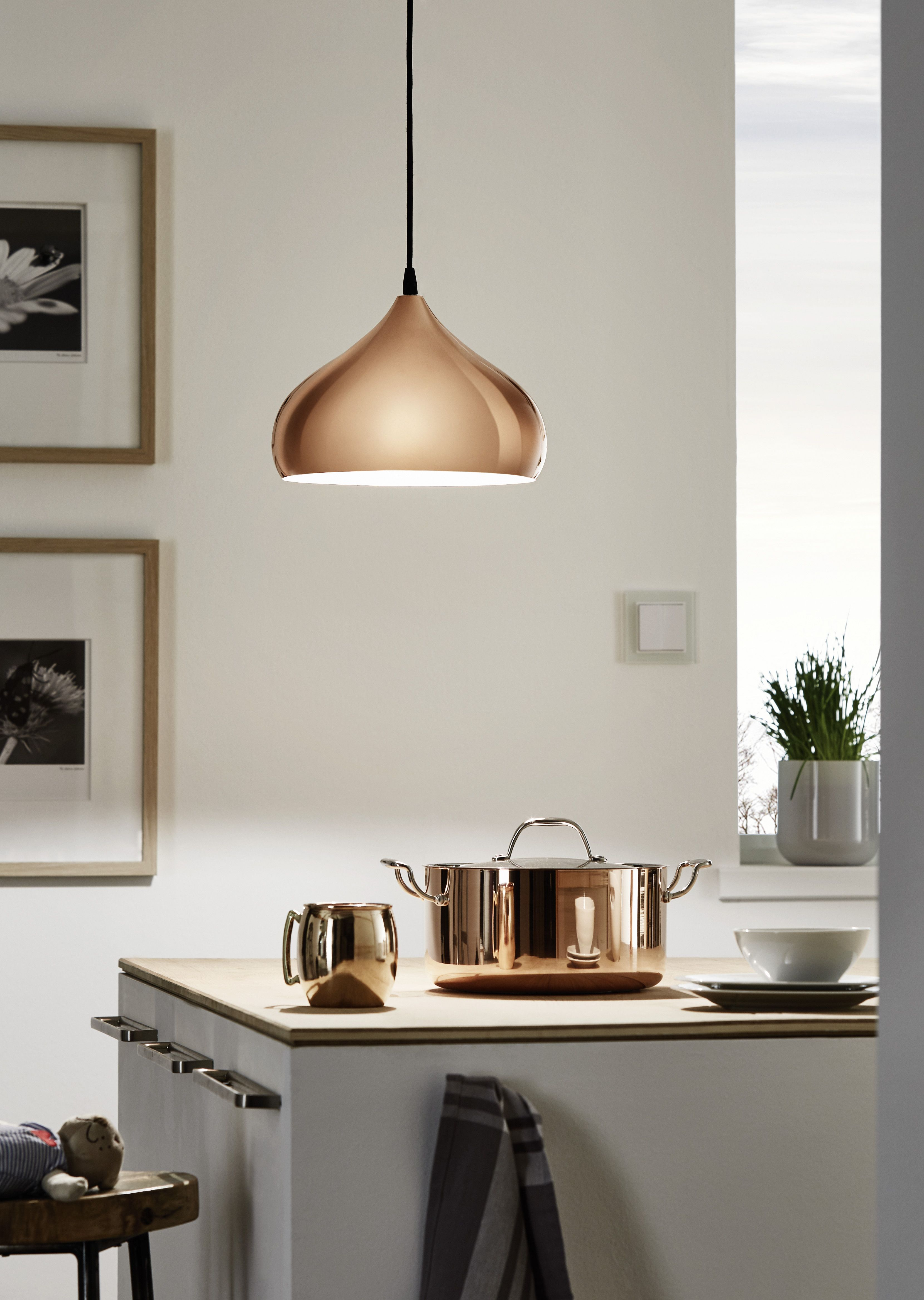 Eglo Lighting Hapton Vintage Copper 1 Lamp Pendant Light Kitchen