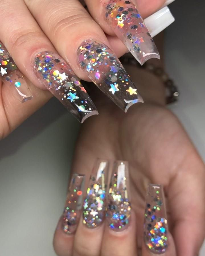 33 Gorgeous Clear Nail Designs To Inspire You With Images Summer Acrylic Nails Coffin Nails Designs Clear Acrylic Nails