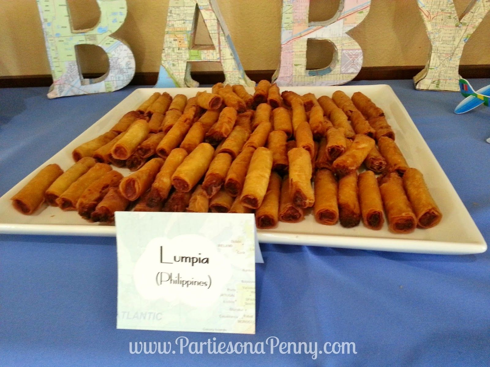 Travel Themed Baby Shower International Appetizers Lumpia From The Philippines Wwwpartiesonapennycom