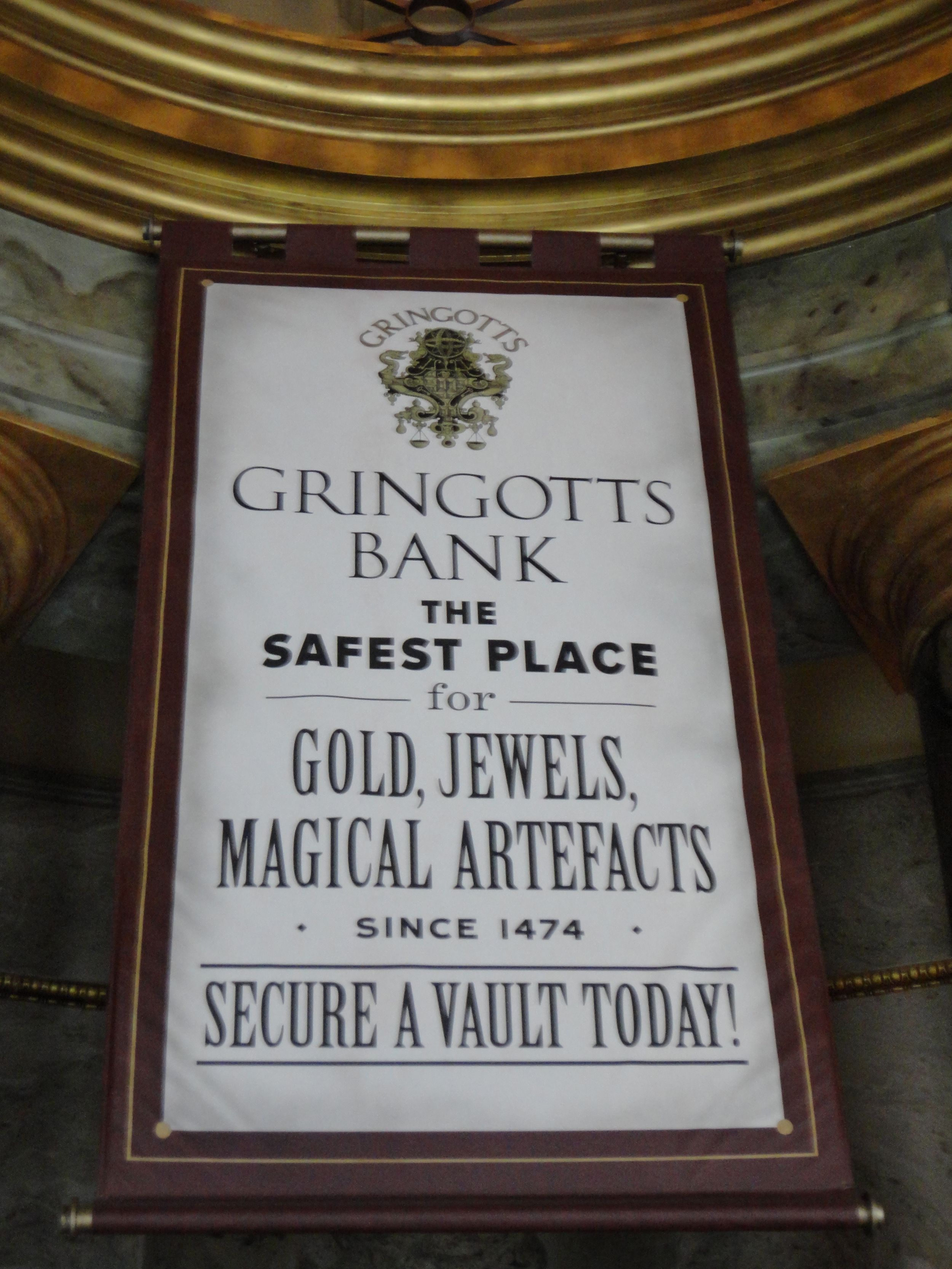 Harry Potter Diagon Alley Gringotts Bank Sign Hp Diagon
