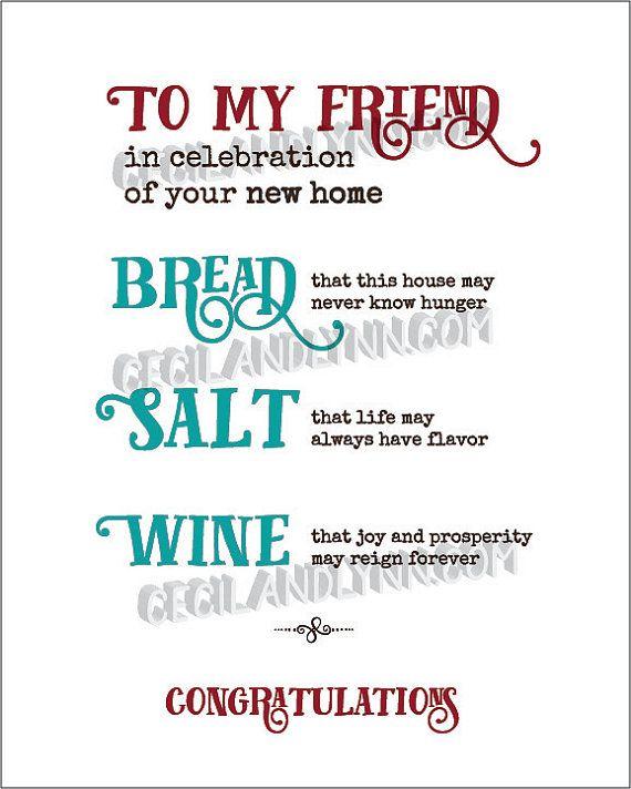 Printable New Home Blessing Bread Salt Wine Poem bread ...