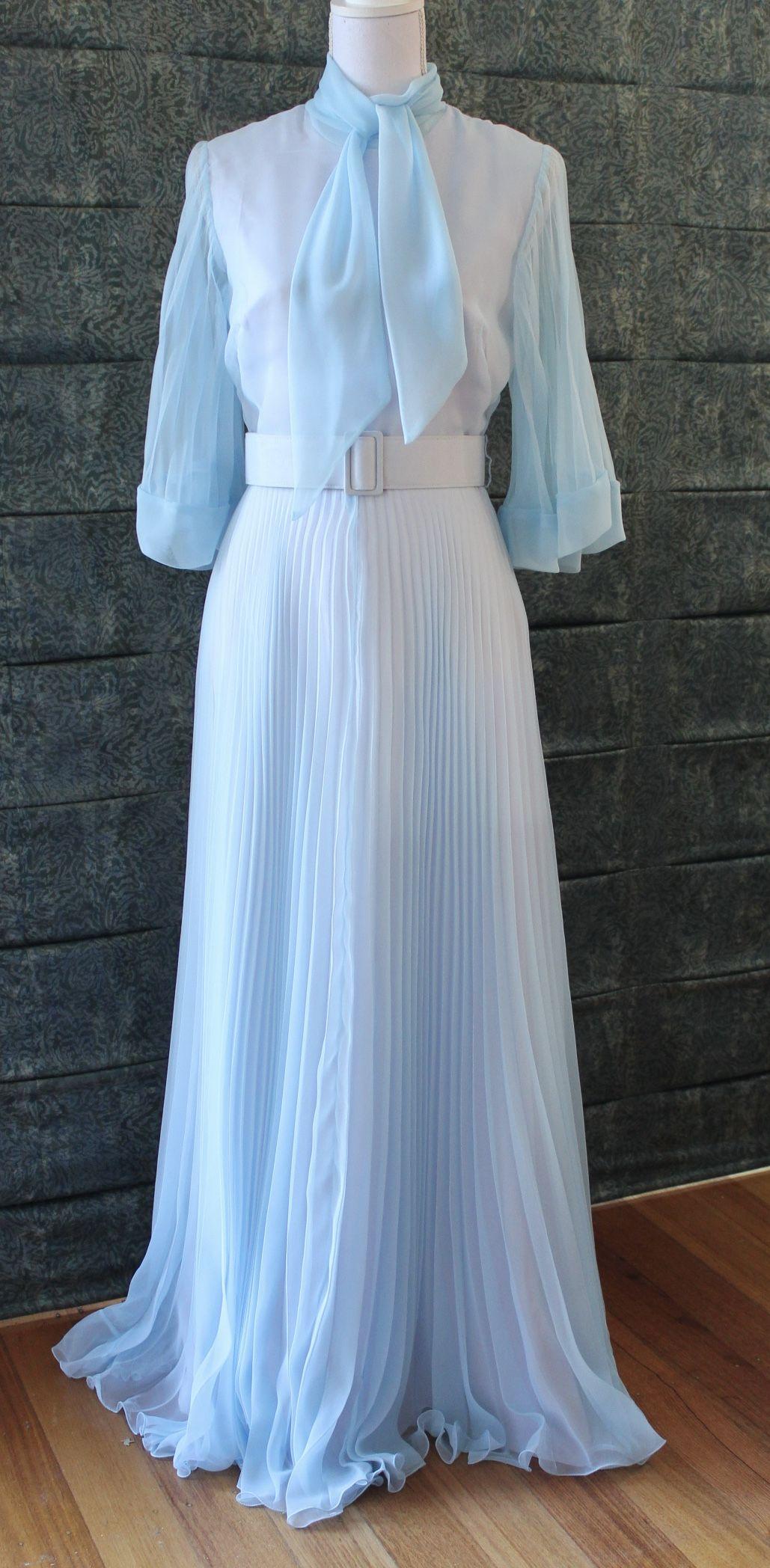Jacqueline Eve Powder Blue Evening Dress Ball Gown 1970s Dresses Ball Dresses Evening Dresses [ 2096 x 1029 Pixel ]