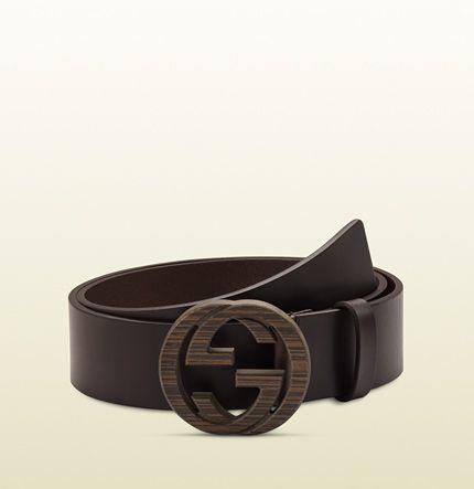 cdee499ba2c brown leather belt with interlocking G buckle