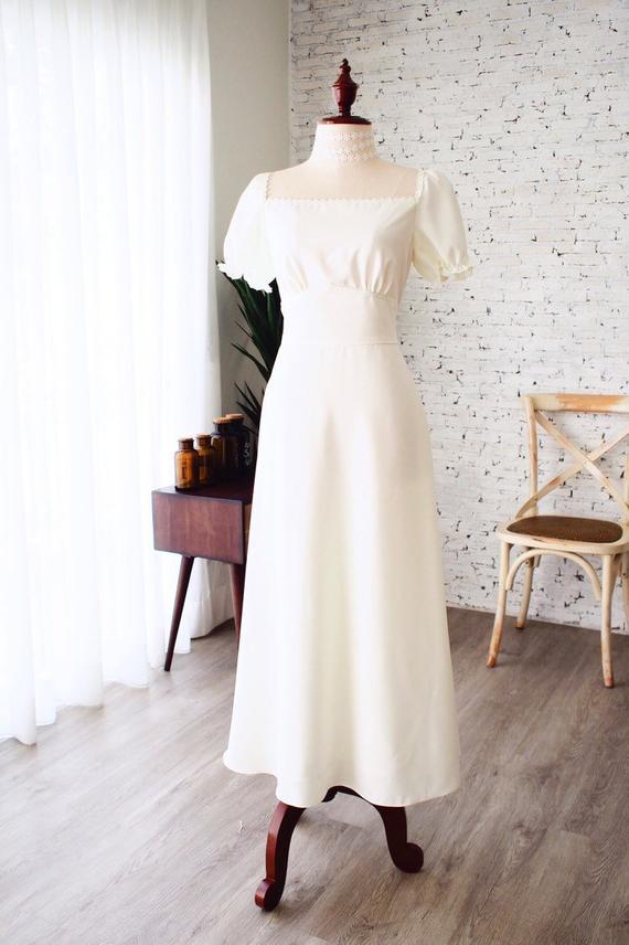 Rustic Wedding Dress Off White Prom Dress Snow White Puff Sleeve