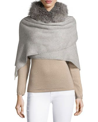 Fur-Trimmed Boucle Scarf by Brunello Cucinelli at Neiman Marcus.