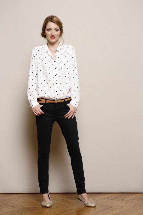 Des Petis Hauts White Patterned Shirt With Black