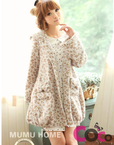 Leopard Patterned Long Buttoning Soft Cute Asian Fashion Hoodie