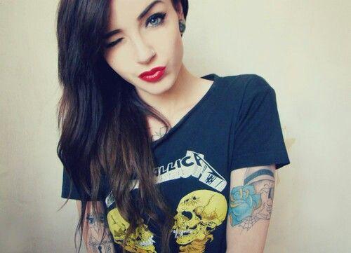 Black Hair Tattoos Blue Eyes Red Lips Rocker Chic Rocker Chic