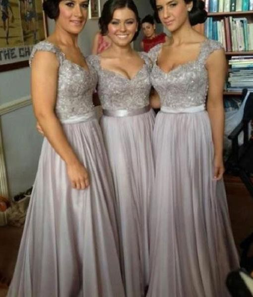 silver chiffon bridesmaid with sweetheart