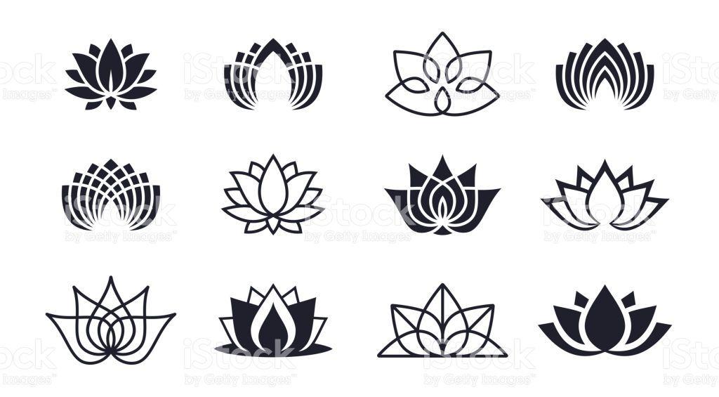 Lotus blossom symbols and icons free vector graphics