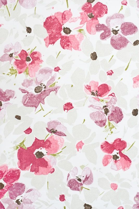 Nymans Floral Curtain Fabric Thin white cotton curtain fabric with ...