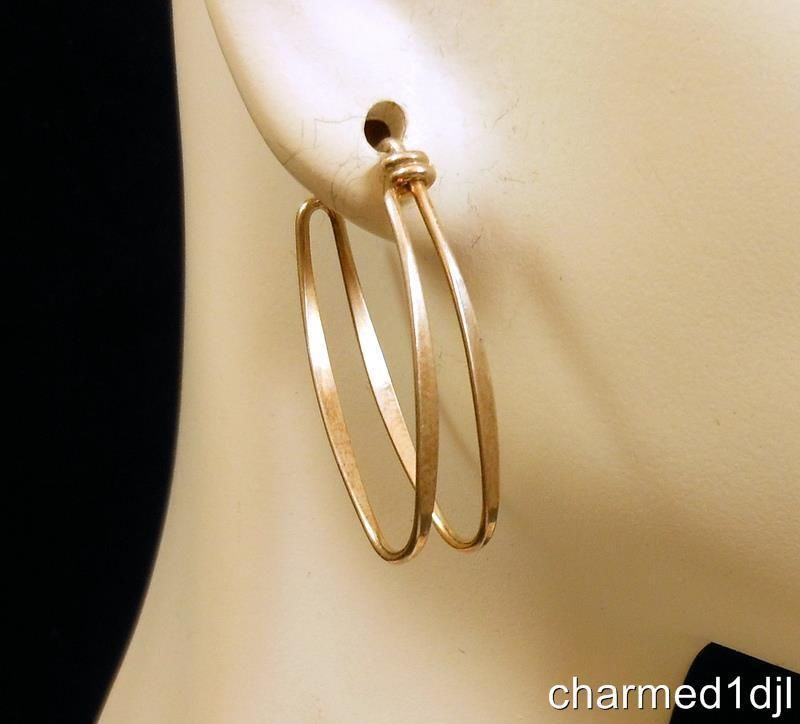 Modernist Designer ED LEVIN Double Hoop 925 Sterling Silver Earrings FAB! #EdLevin #Hoop SOLD