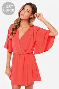 LULUS Exclusive The Way You Move Coral Red Dress $48