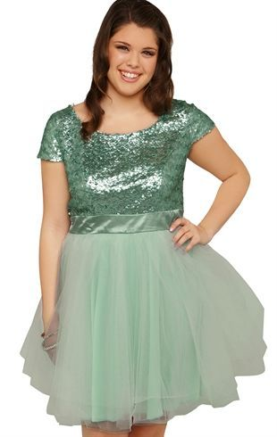 Plus Size Short Prom Dress with Sequin Bodice and Ballerina Skirt ...
