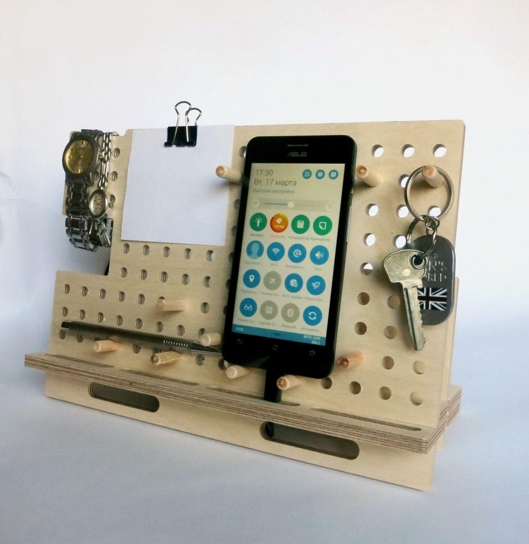 Wood docking station smart phone dock tablet holder ipad stand